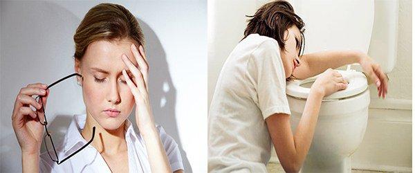 головная боль, тошнота и рвота