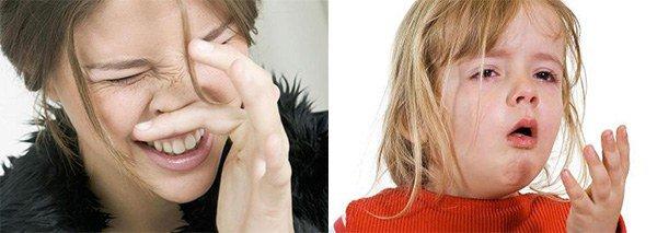 пощипывание и жжение в носу, cухой кашель