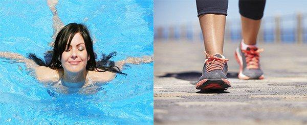 сочетание ЛФК с плаванием или ходьбой