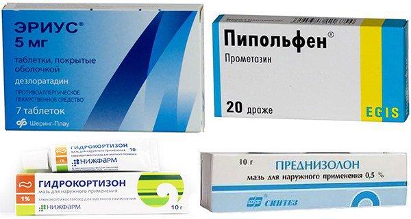 противоаллергические средства и глюкокортикостероидные мази