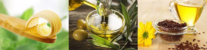 сливочное, оливковое, льняное масло