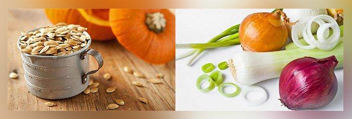 семя тыквы и лук
