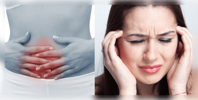 Боли в животе и мигрень