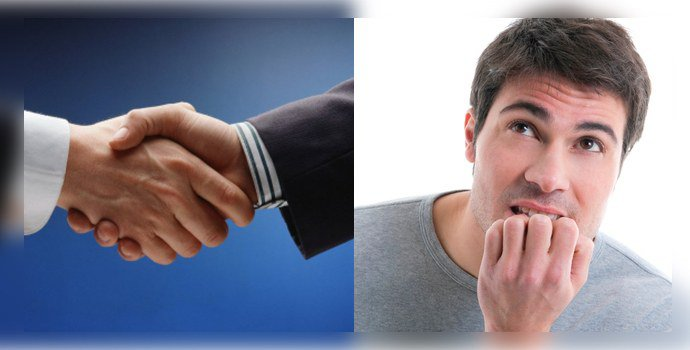 Рукопожатие и грызет ногти