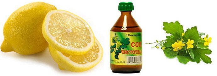Лимон, сок чистотела