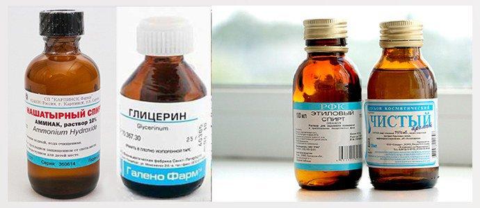 Нашатырный и медицинский спирт, Глицерин