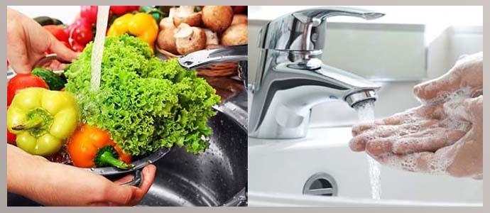 Мытье рук и овощей