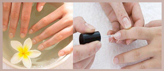 Распарить ногти в ванночке, нанести лак