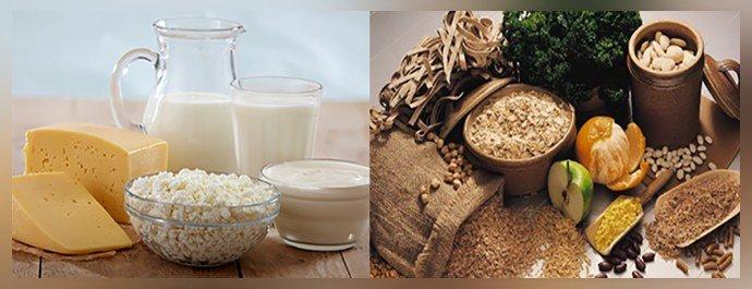 Кисломолочные продукты, блюда богатые клетчаткой
