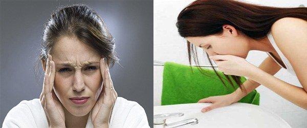 головная боль, рвотный позыв