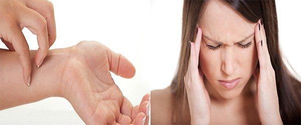 появление зуда и головной боли