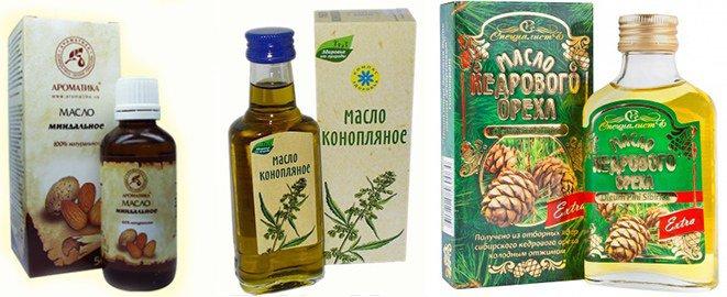 миндальное, конопляное, кедровое масло