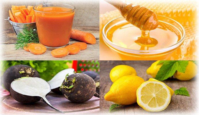 морковный сок, мед, лимон и редька