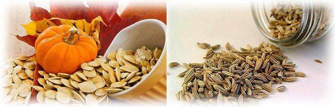 тыквенное семя и семена укропа