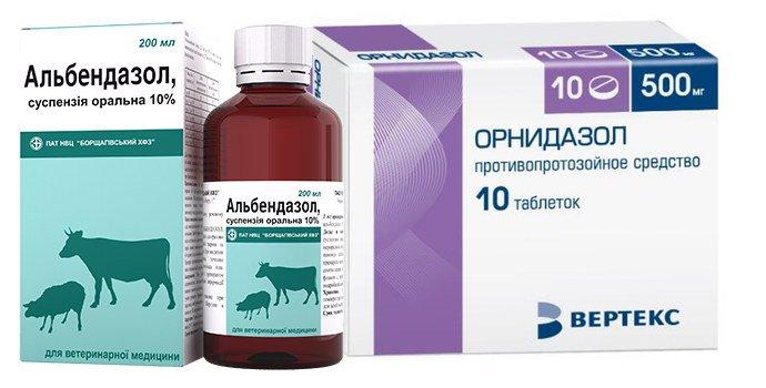Альбендазол и орнидазол