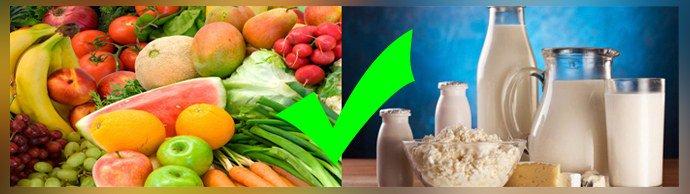 Свежие овощи, кисломолочные продукты