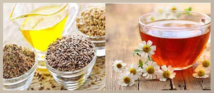 Семя льна, чай с ромашкой