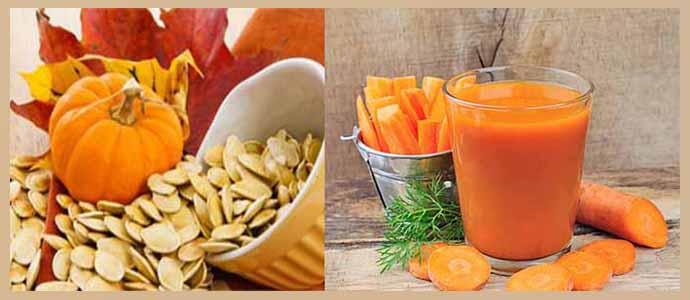Тыквенные семечки, морковный сок