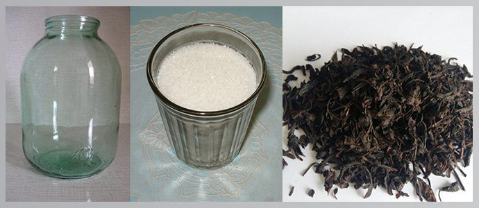 Банка, сахар, крупнолистовой чай